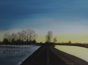 Schilderijen: 1. Bevroren overstroming a/d/ Maas in 2003 bij Urmond (Stein)