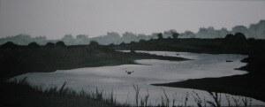 Schilderijen: Kano's op de Maas bij Meers