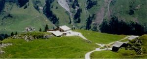 Met een rood bakje als lift voor vier persoenen komen we op de Sittlisalp, die boven het Schächental ligt. Het Schächental is een zijdal van de Vierwaldstättersee.
