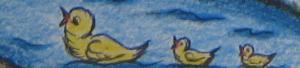 De eendjes schaterden van plezier toen Heksemientje met een plons in de vijver viel.