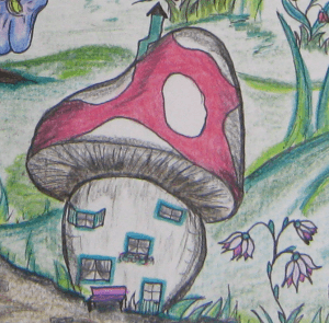 Paddenstoel in het sprookjesbos van Heksemientje.