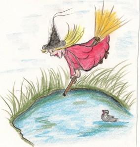 Heksemientje schoot als een pijl naar beneden, recht de vijver in.