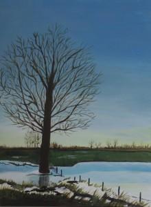 Schilderijen: 2. Bevroren overstroming 2003 in Urmond (Stein)