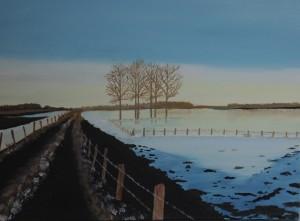 Schilderijen: 3. Bevroren overstroming bij Urmond a/d Maas in 2003.