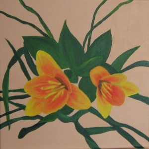 Een van de schilderijen: voorjaars tulpen.