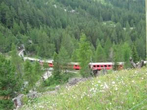 De Rätische Bahn slingert zich via tunnels en serpentines omhoog naar de pas.