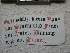Inscription on one of the houses in the Eifel. It says:
