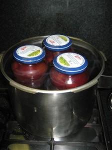 Inmaken in glazen potten en ze daarna steriliseren in een pan vol water en een doekje onderin.